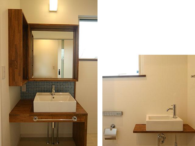 洗面室とトイレ内の手洗い