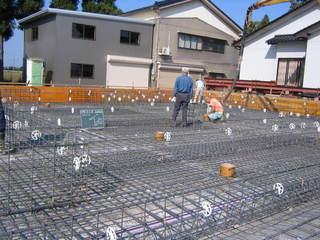 曳き家の基礎鉄筋工事